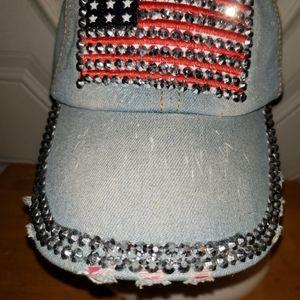 NWT FALLS CREEK BLING FLAG BASEBALL CAP